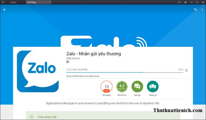 Bắt đầu quá trình cài đặt ứng dụng Zalo
