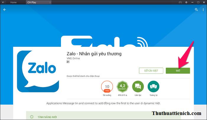 Nhấn nút Mở để mở ứng dụng Zalo ngay