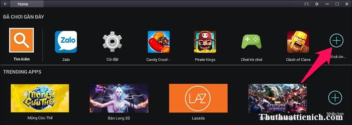 Bạn cũng có thể mở Zalo từ Tất cả ứng dụng trong trang Home