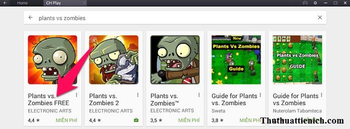 Nhấn vào game Plants vs. Zombies FREE trong kết quả tìm kiếm