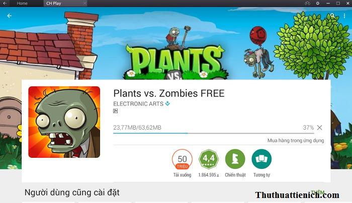 Bắt đầu cài đặt game Plants vs Zombies
