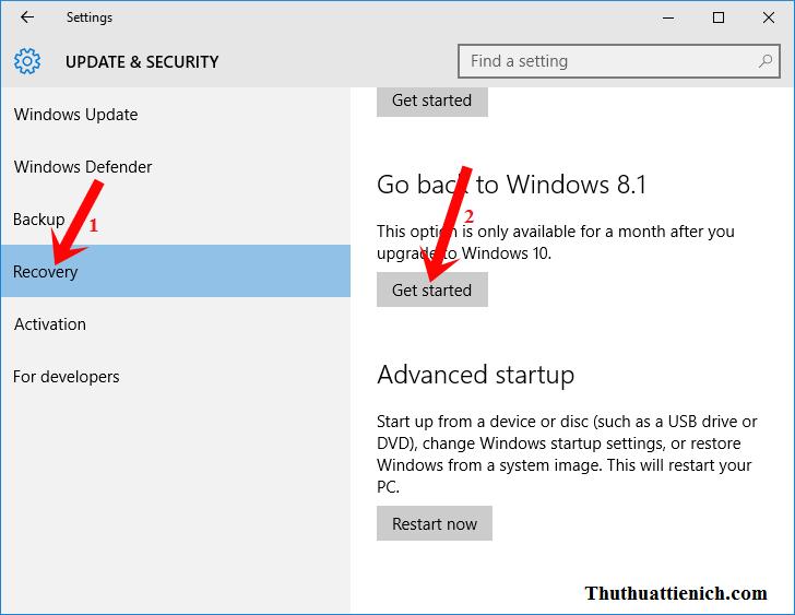Chọn Recovery -> nhấn nút Get Start trong phần Go back to Windows 8.1