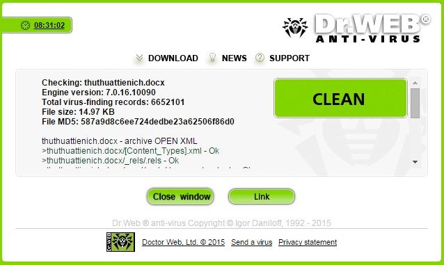 Quét Virus Online với Dr.Web