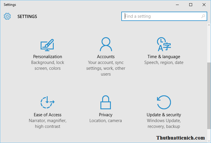 Settings trên Windows 10