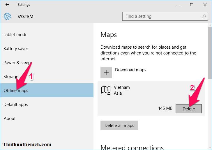Cách xóa bản đồ offline đã tải về Windows 10