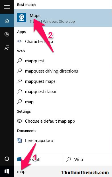 Cách mở ứng dụng Maps trên Windows 10