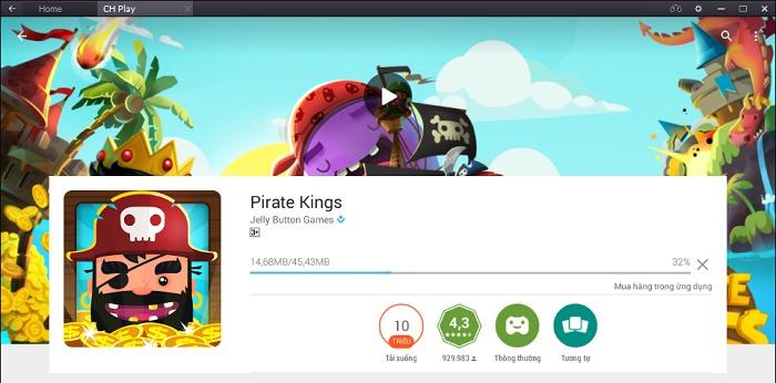 Bắt đầu quá trình tải về và cài đặt game Pirate Kings