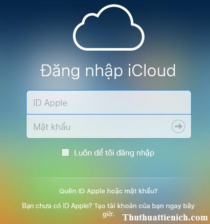 Đăng nhập bằng tài khoản Apple ID (tài khoản iTune) của bạn