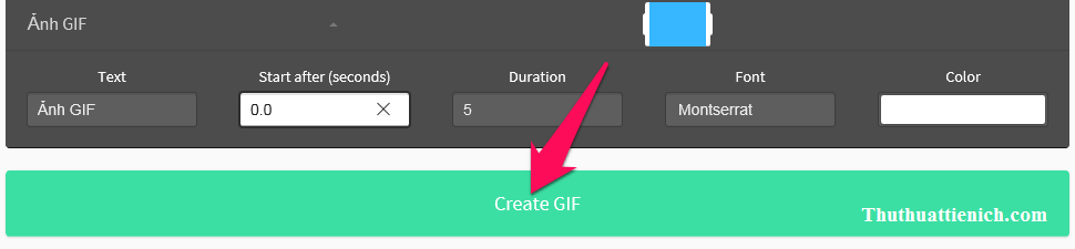 Nhấn nút Create GIF