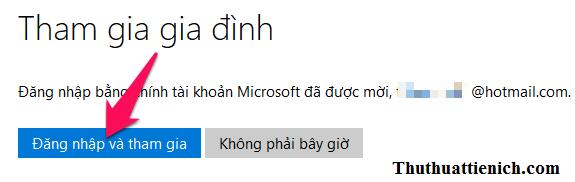 Nhấn nút Đăng nhập và tham gia rồi đăng nhập với tài khoản Microsoft trẻ em