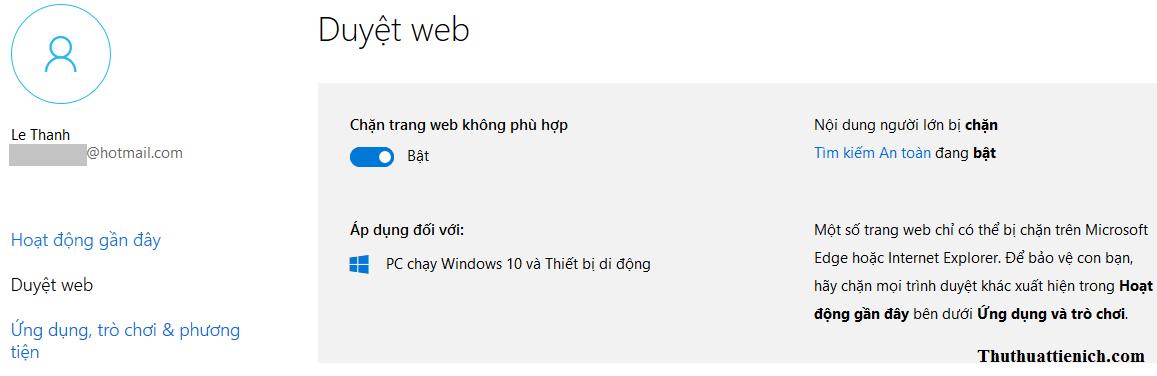 Thiết lập duyệt web cho tài khoản trẻ em trên Windows 10