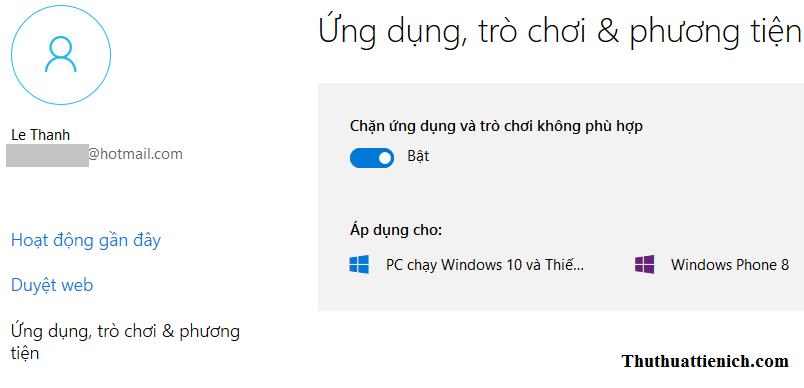 Thiết lập Ứng dụng, trò chơi & phương tiện cho tài khoản trẻ em trên Windows 10