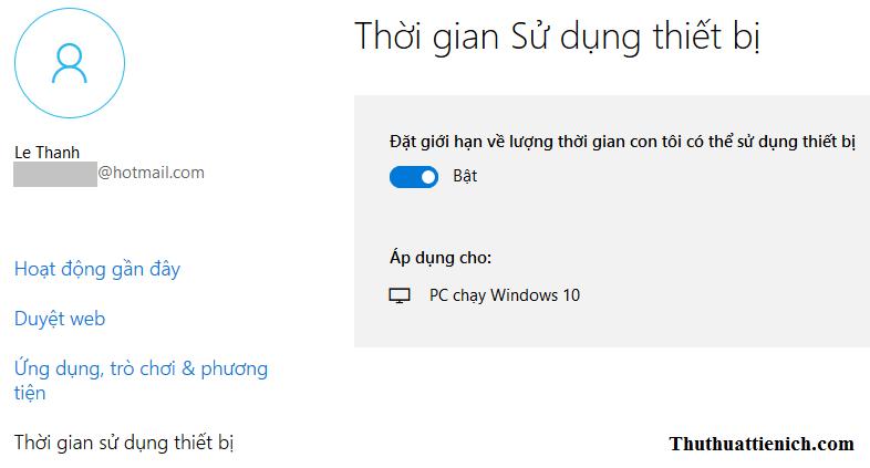 Thiết lập thời gian sử dụng thiết bị cho tài khoản trẻ em trên Windows 10
