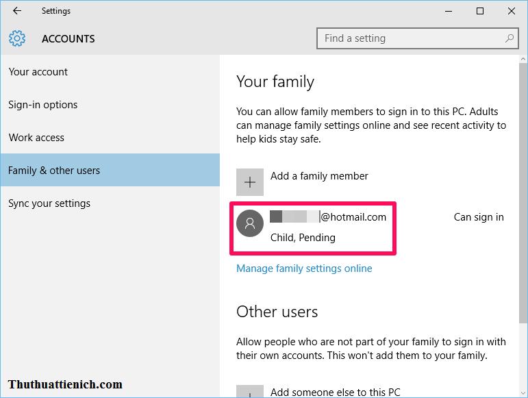 Tạo tài khoản trẻ nhỏ trên Windows 10 xong, chờ xác nhận