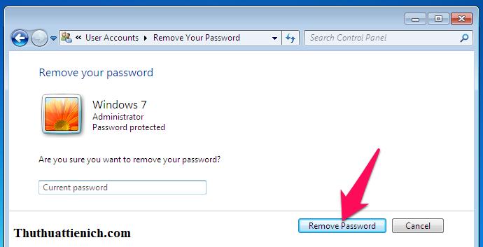 Nhập mật khẩu vào khung Current password rồi nhấn nút Remove Password