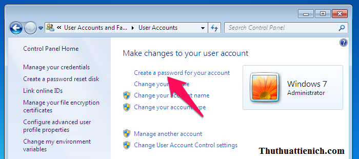 Nhấn nút Create a password for your account