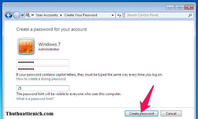 Nhập mật khẩu muốn tạo rồi nhấn nút Create password