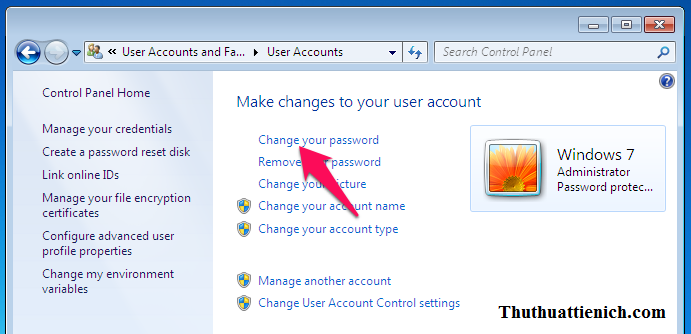 Nhấn nút Change your password
