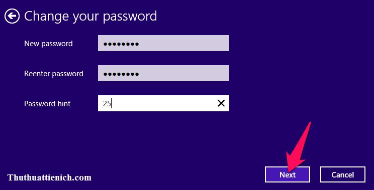 Nhập mật khẩu mới trong 2 khung New password và Reenter password rồi nhấn nút Next