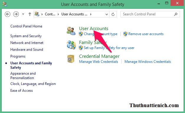 Chọn User Accounts