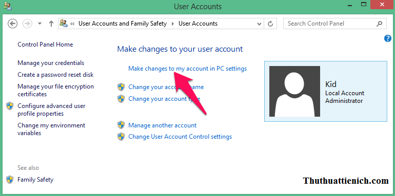 Nhấn vào dòng Make changes to my account in PC settings