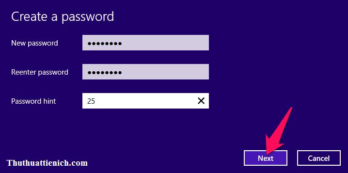 Nhập mật khẩu bạn muốn tạo trong 2 khung New Password và Reenter password rồi nhấn nút Next