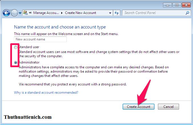 Chọn tên người dùng, loại người dùng rồi nhấn nút Create Account