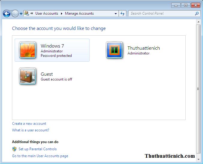 Tạo người dùng mới trên Windows 7 thành công