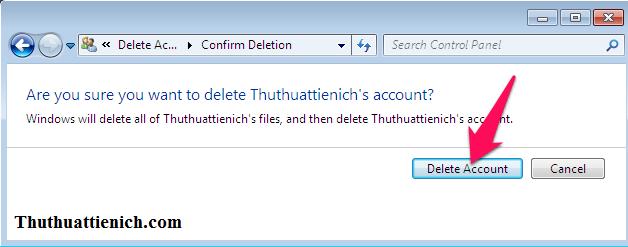 Nhấn nút Delete Account