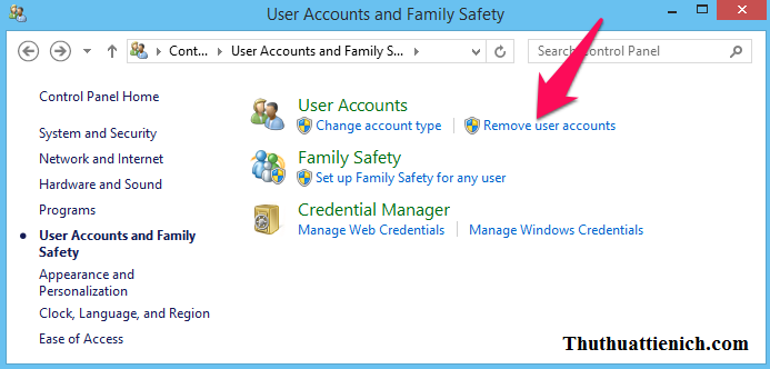 Nhấn vào dòng Remove user accounts