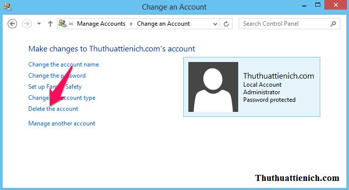 Nhấn vào dòng Delete the account