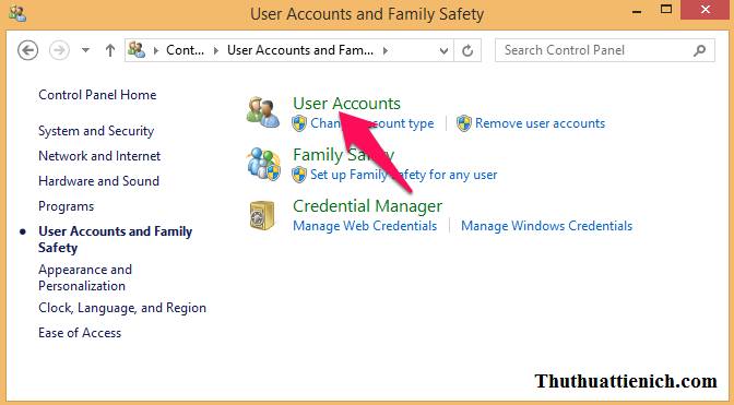 Chọn User Accounts