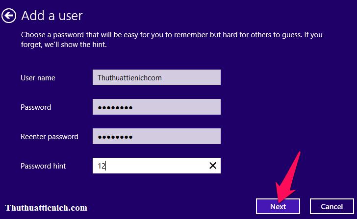 Nhập tên người dùng và mật khẩu rồi nhấn nút Next