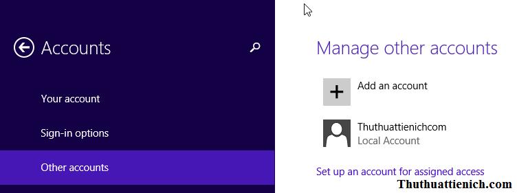 Tạo người dùng mới trên Windows 8/8.1
