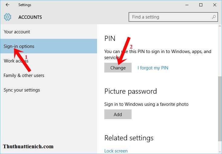 Chọn Sign-in options trong menu bên trái sau đó nhìn sang cửa sổ bên phải nhấn nút Change trong phần PIN