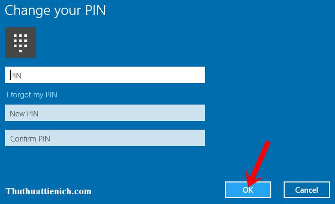 Nhập mã PIN cũ trong khung PIN, mã PIN mới trong 2 khung New PIN và Confirm PIN rồi nhấn nút OK
