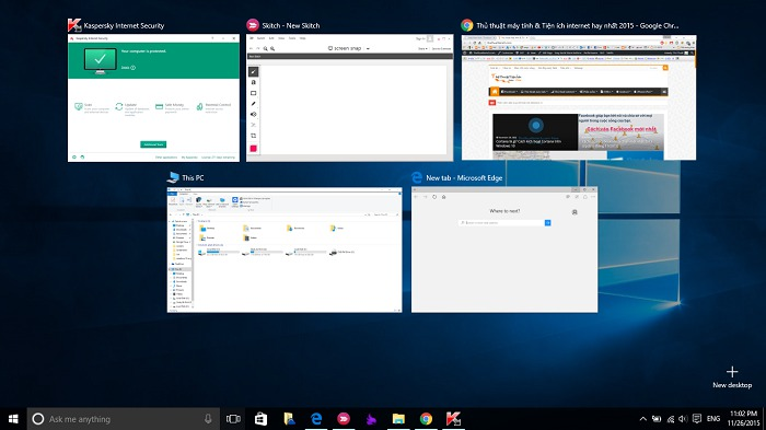 Tính năng đa nhiệm Task View trên Windows 10