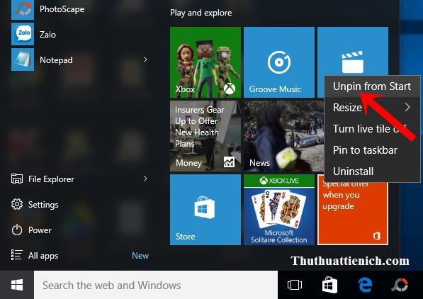 Nhấn chuột phải vào quảng cáo Get Office trong Start menu chọn Unpin from Start