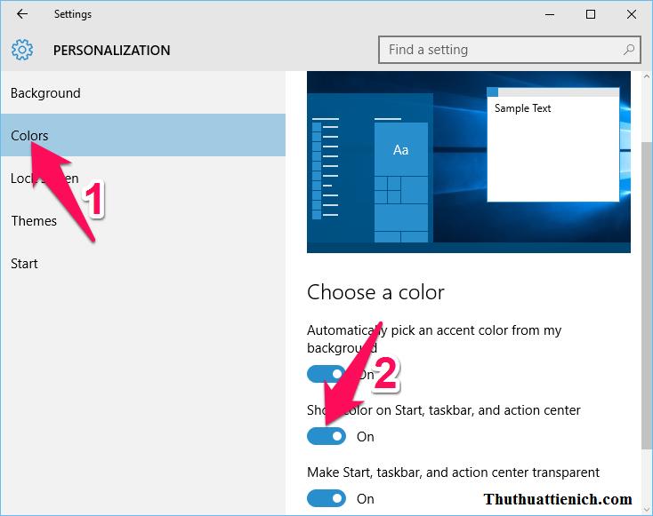 Chọn Colors trong menu bên trái, nhìn sang cửa sổ bên phải gạt công tắc sang phải (On) trong phần Show color on start, taskbar, and action center