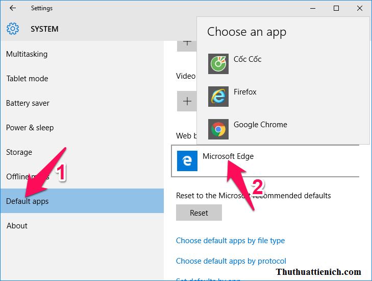 Chọn Default apps trong menu bên trái rồi chọn ứng dụng mặc định trong các phần của cửa sổ bên phải