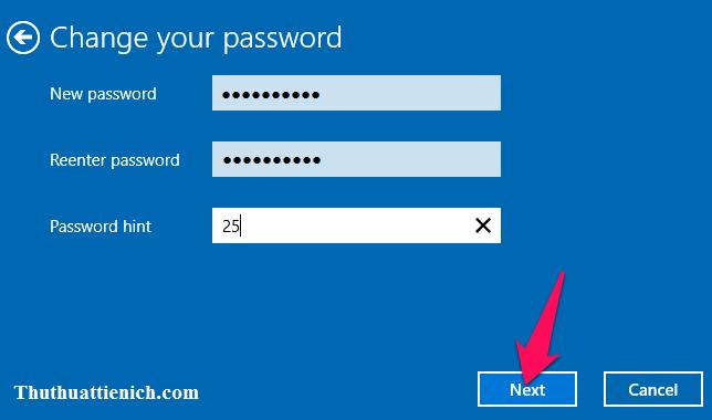 Nhập mật khẩu mới rồi nhấn nút Next