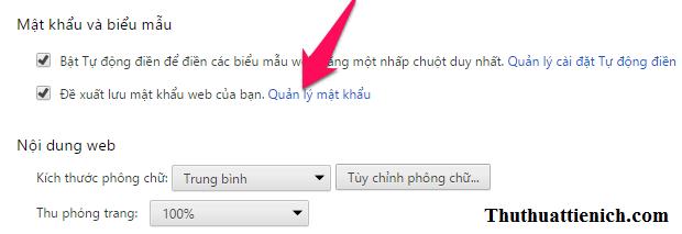 Nhấn vào dòng Quản lý mật khẩu trong phần Mật khẩu và biểu mẫu