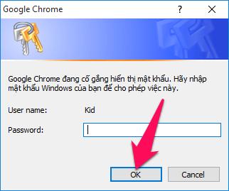 Nhập mật khẩu Windows nếu có
