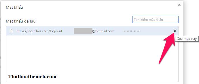 Xóa mật khẩu đã lưu trên trình duyệt Google Chrome