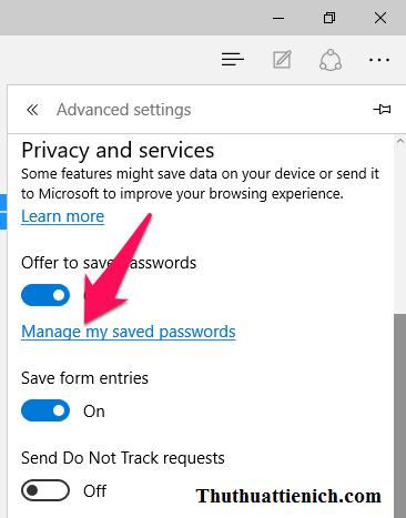 Nhấn vào dòng Manage my saved passwords