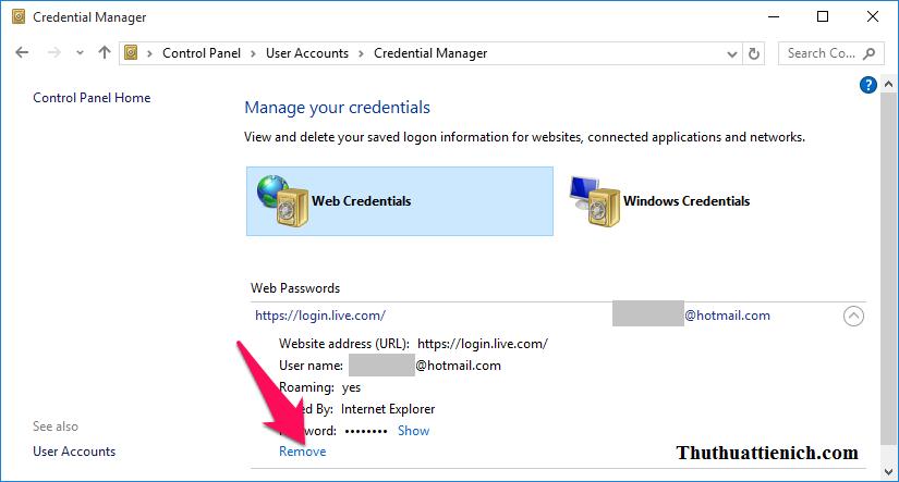 Nhấn vào dòng Remove bên dưới phần Password