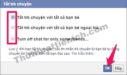 Tùy chọn tắt trò chuyện nick Facebook trên máy tính