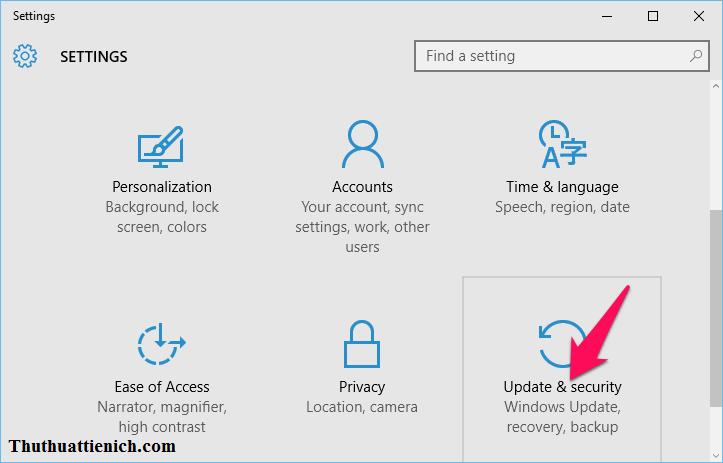 Mở lại Settings như bước 1, sau đó chọn Update & Security