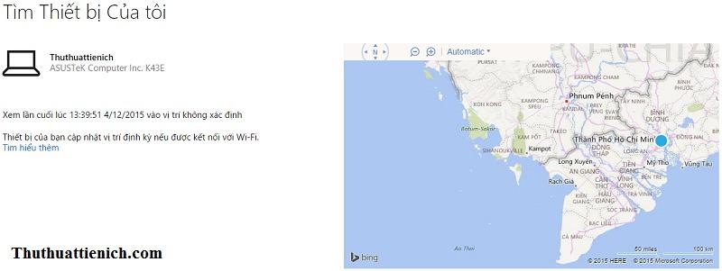 Vị trí hiện tại hoặc sau cùng của thiết bị được định vị trên bản đồ
