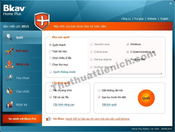 Giao diện chính của phần mềm BKAV Home Plus
